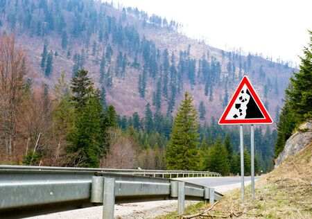 Falling stones, road sign Stock Photo