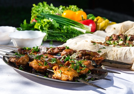Shashlik with lavash and vegetables photo