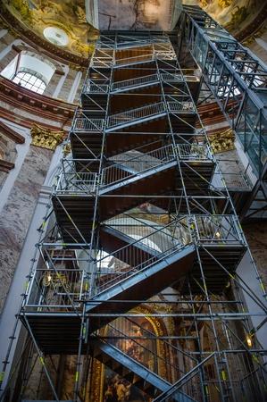 st charles: Scaffolding inside of Karlskirche (St. Charles church),Vienna