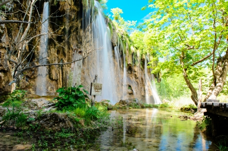 plitvice: Beautiful waterfall in the Plitvice Lakes National Park in Croatia Stock Photo