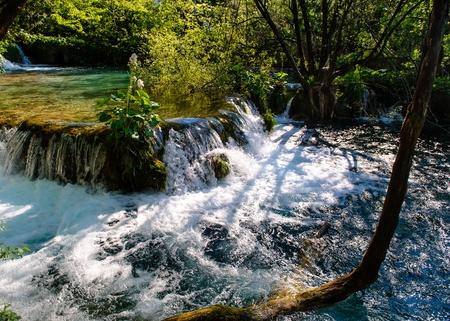 Beautiful waterfall. Plitvice Lakes National Park in Croatia photo