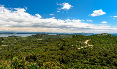 Beautiful nature landscape view from St  Michael Fortress in Croatia