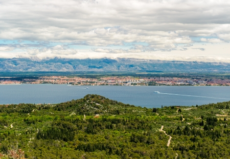 Beautiful nature landscape view from St  Michele Fortess in Croatia photo