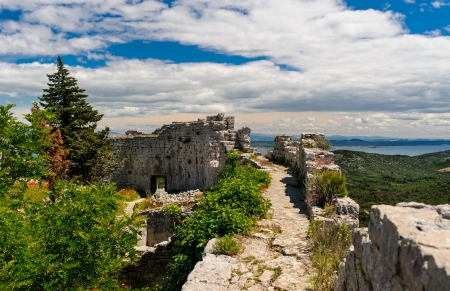 Beautiful nature landscape view from St  Michael Fortress in Croatia  photo