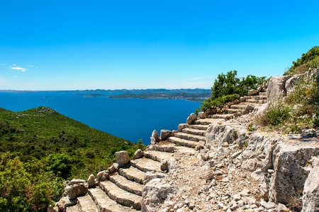 Beautiful nature landscape view from St. Michael Fortress in Croatia photo
