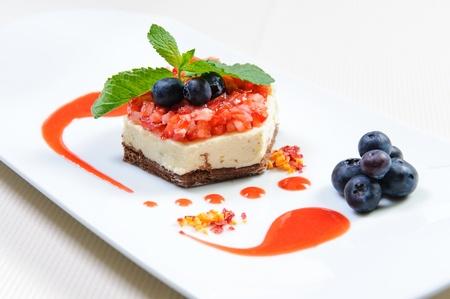 luscious: Luscious berry dessert on a plate