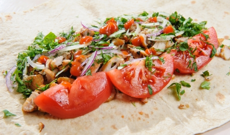 Lavash with chicken and vegetables  photo