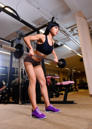 Beautiful young woman working out in fitness club Stock Photo - 14456576