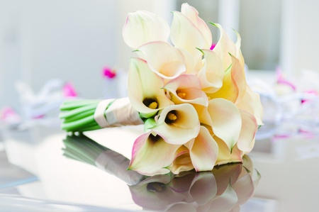 Beautiful calla lilies bouquet photo