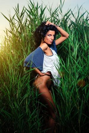 Beautiful sexy woman outdoors Stock Photo - 14645624