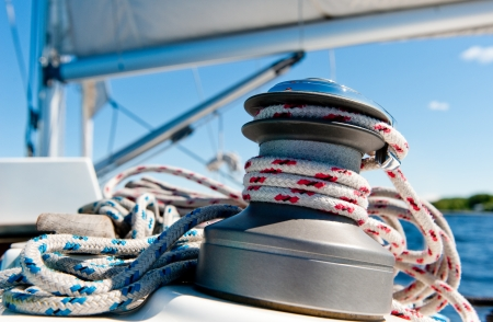 Winch with rope on sailing boat Stock Photo - 14634754
