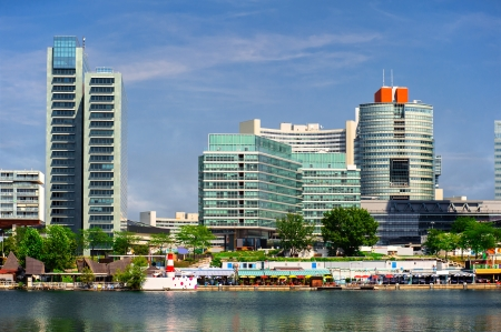 Panoramic view to the Donau City in summertime. Vienna, Austria photo