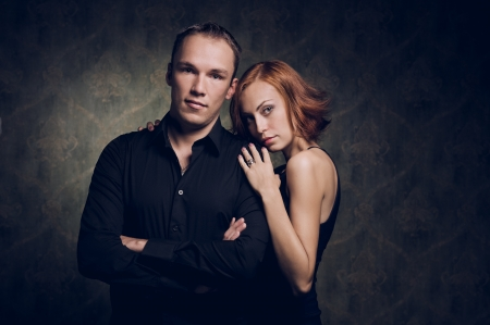Portrait of couple in love, studio shot Stock Photo - 15264653