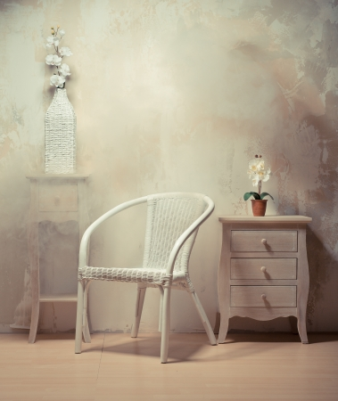 furniture design: Interior design of room with furniture in beige-white colors Stock Photo