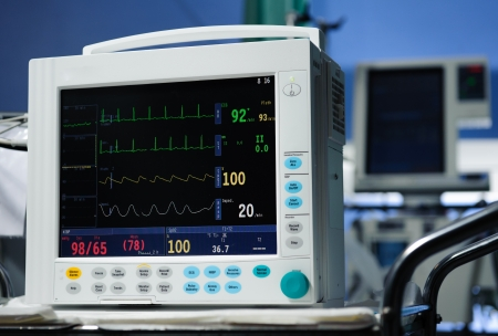 resuscitation department: Anesthesia monitor description close-up Stock Photo