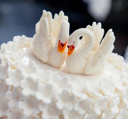 pastel boda: Pastel de bodas decorada con cisnes Foto de archivo