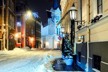 Night town in winter. Riga, Latvia