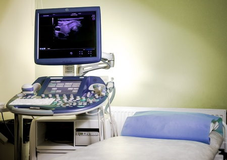 Medical ultrasonography machine at hospital photo