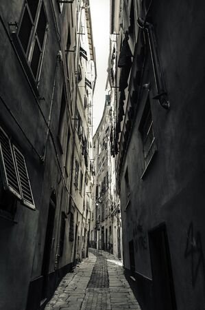 narrow street: Narrow street in old town of Genova,port city in northern Italy