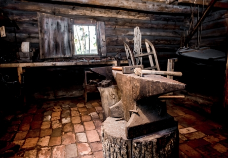 ancient blacksmith: Farrier tools in ancient smithy