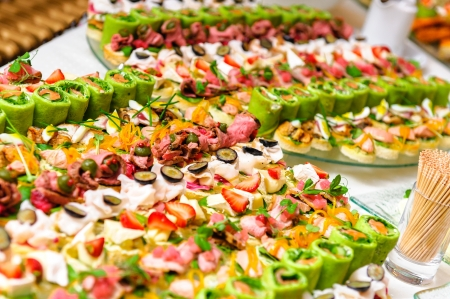 party tray: Trays with various delicious appetizer