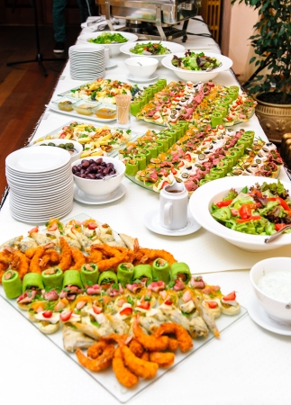 banquet table: Table with various delicious appetizer Stock Photo