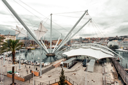 the place is important: GENOA, ITALY - DECEMBER 20: The most important attraction and famous place- Genoa's Old Port Area, over 130,000 sq m, numerous buildings and well-known attractions, in Genoa, Italy on Dec 20, 2012