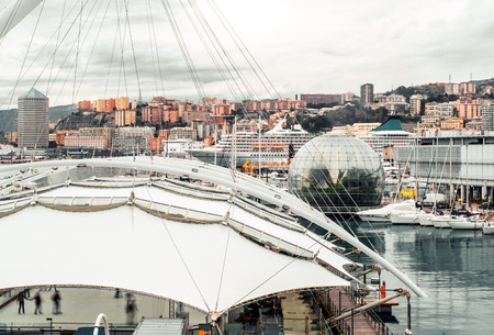 sq: GENOA, ITALY - DECEMBER 20: The most important attraction and famous place- Genoa's Old Port Area, over 130,000 sq m, numerous buildings and well-known attractions, in Genoa, Italy on Dec 20, 2012