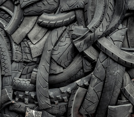 Background of old car tires photo