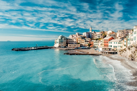 mediterranean houses: View of Bogliasco. Bogliasco is a ancient fishing village in Italy Stock Photo