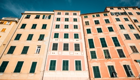 tall buildings: Typical houses in Italian village. Camogli, Genoa.