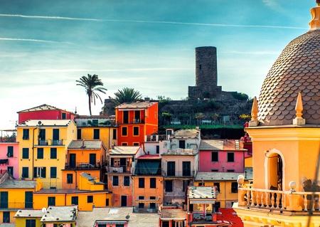 vernazza: View of Vernazza. Vernazza is a town and comune located in the province of La Spezia, Liguria, northwestern Italy. Stock Photo