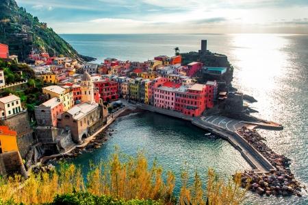 Aerial view of Vernazza - small italian town in the province of La Spezia, Liguria, northwestern Italy. photo
