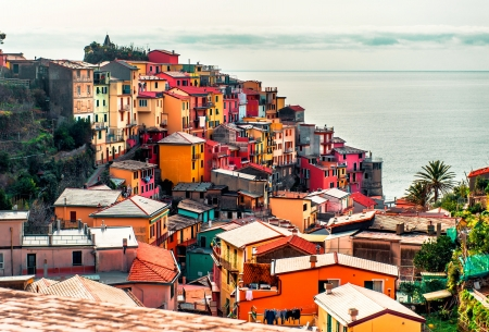 liguria: View of Manarola. Manarola is a small town in the province of La Spezia, Liguria, northern Italy.