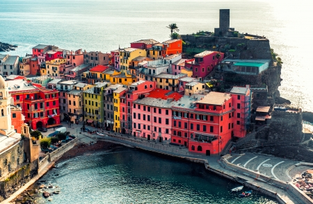 liguria: Aerial view of Vernazza - small italian town in famous Cinque Terre on Mediterranean Sea in Liguria, Italy.
