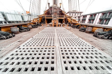rigging: Detail of Galeone Neptune ship, tourist attraction in Genoa, Italy