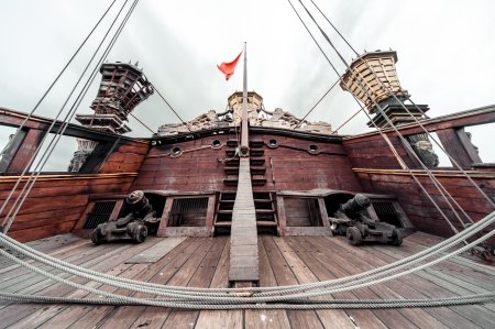 sailing ship: Detail of Galeone Neptune ship, tourist attraction in Genoa, Italy