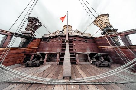 genoa: Detail of Galeone Neptune ship, tourist attraction in Genoa, Italy