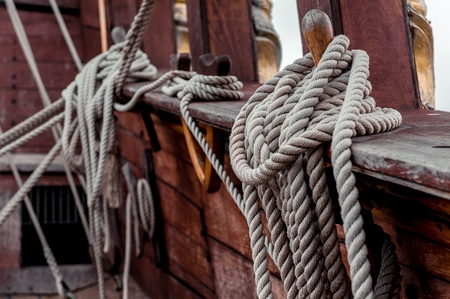 shrouds: Ship rigging Stock Photo