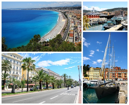 riviera: Collage of Nice landmarks, France.