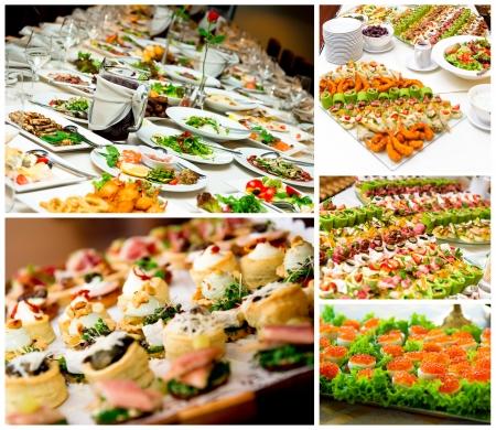 buffet: Collage van voorgerechten Stockfoto