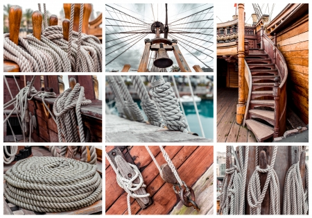 Collage of ship rigging photo
