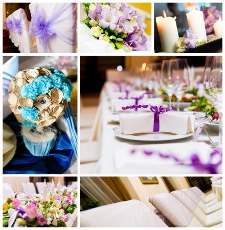 recepcion: Decoraciones de la boda collage Foto de archivo