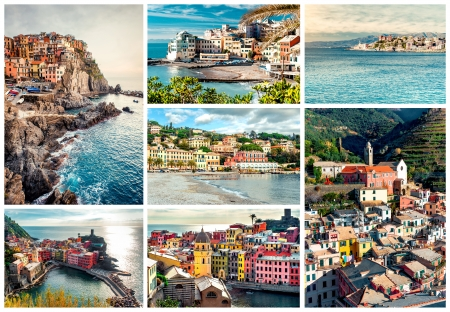 Collage of most famous landmarks in Italy. Italian Riviera-Genoa, Manarola, Vernazza, Bogliasco, Santa Margherita. photo