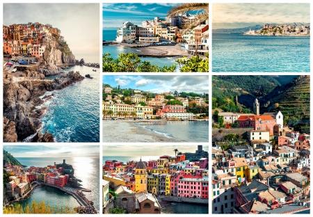 liguria: Collage of most famous landmarks in Italy. Italian Riviera-Genoa, Manarola, Vernazza, Bogliasco, Santa Margherita.