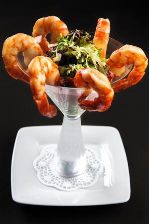starter: Prawns with salad