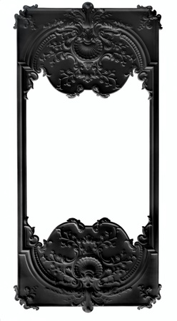 bas: Black bas rlief frame over white background