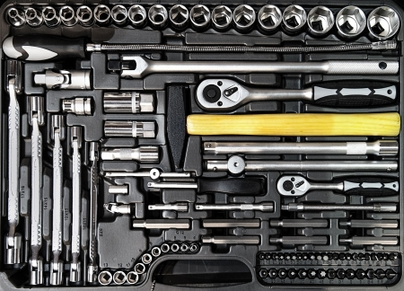 mechanical: Toolbox close-up Stock Photo