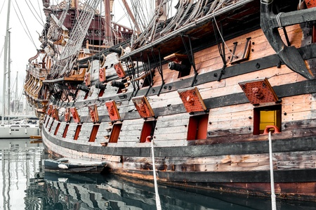 old styled: Galeone Neptune ship, tourist attraction in Genoa. The ship was built in 1985 for Roman Polanskis film Pirates Italy