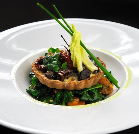 tartlet: Wild mushroom tartlet with vegetable salad